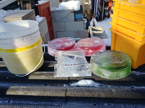 ice blocks and pails